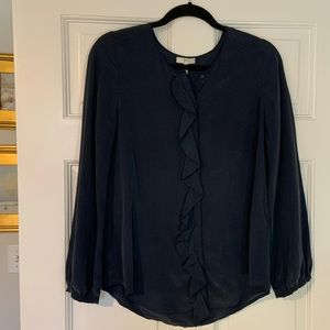 Joie Women's navy silk blouse size small